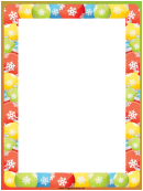 Snowflakes And Ornaments Christmas Page Border Template