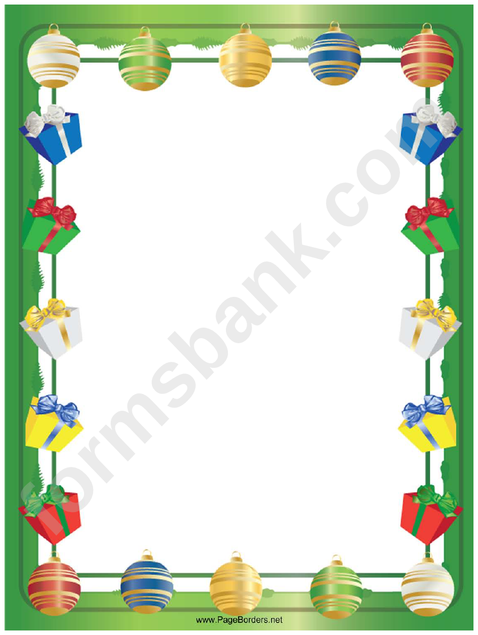 gifts and ornaments christmas page border template