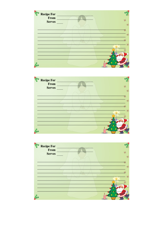 Christmas 3x5 Recipe Card Template