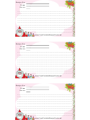 Christmas Recipe Card Template - Pink