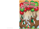 Reindeer Balloons Christmas Card Template
