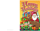 Santa Reindeer Christmas Card Template