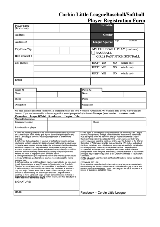 Top 8 Little League Registration Form Templates free to download ...