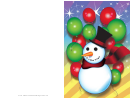 Snowman And Balloons Christmas Card Template