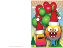 Monsters And Balloons Christmas Card Template