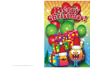 Gifts And Balloons Christmas Card Template