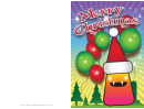 Balloons And Monster Christmas Card Template