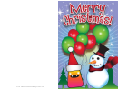 Monster Snowman With Balloons Christmas Card Template