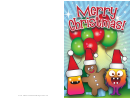 Monsters, Balloons And Gingerbread Man Christmas Card Template