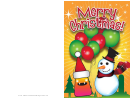 Snowman And Monster Christmas Card Template