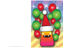 Monster And Balloons Christmas Card Template