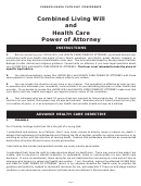 Combined Living Will And Health Care Power Of Attorney