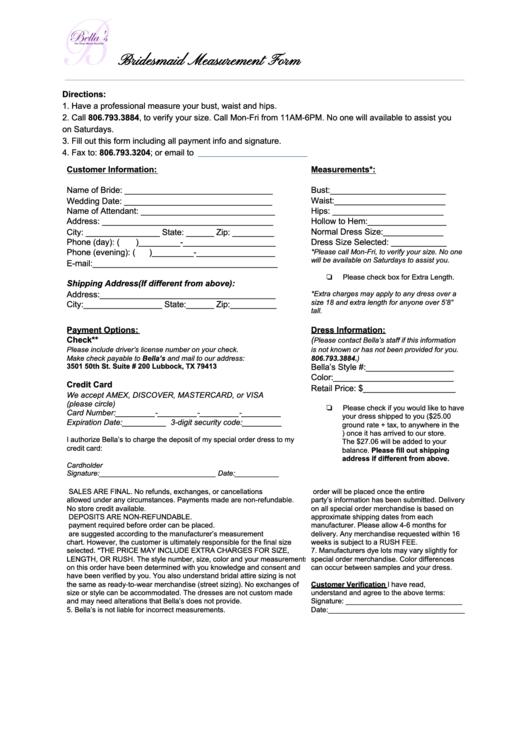 Bridesmaid Measurement Form Printable pdf