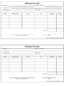 Mileage Receipt Template
