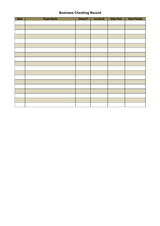 Business Checking Record Form Printable pdf