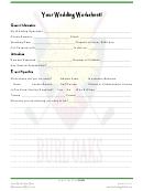 Your Wedding Worksheet
