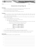 Characteristics Of Living Things Worksheet