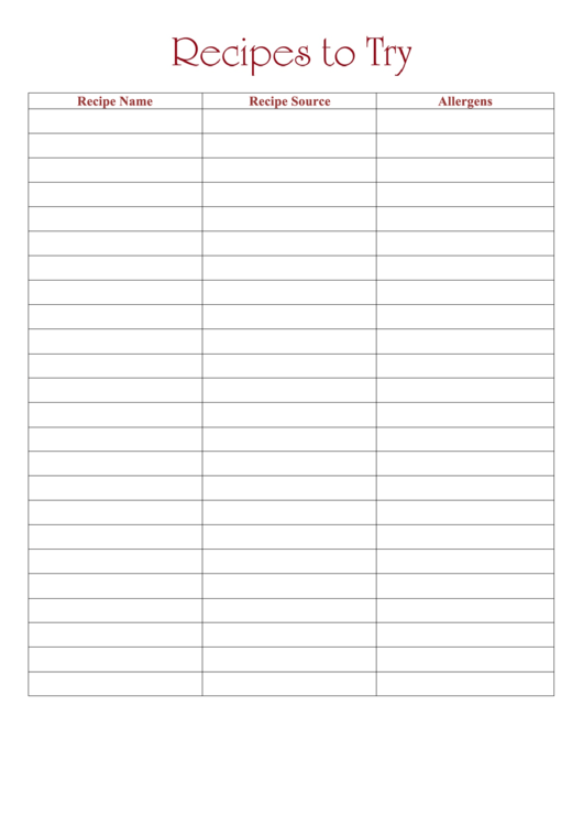 Recipes To Try Template Printable pdf