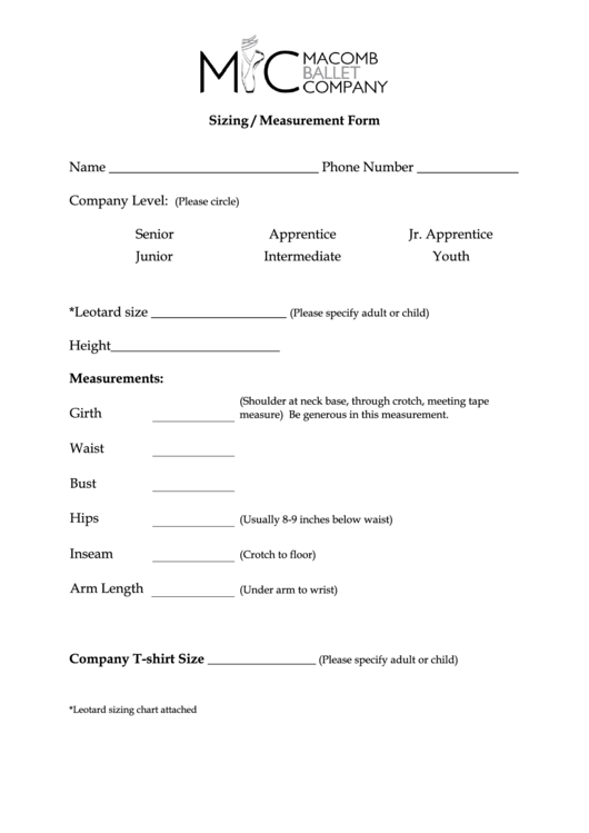Sizing / Measurement Form Printable pdf