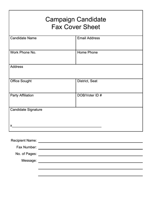 Campaign Candidate Fax Cover Sheet