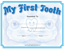 My First Tooth Certificate Template