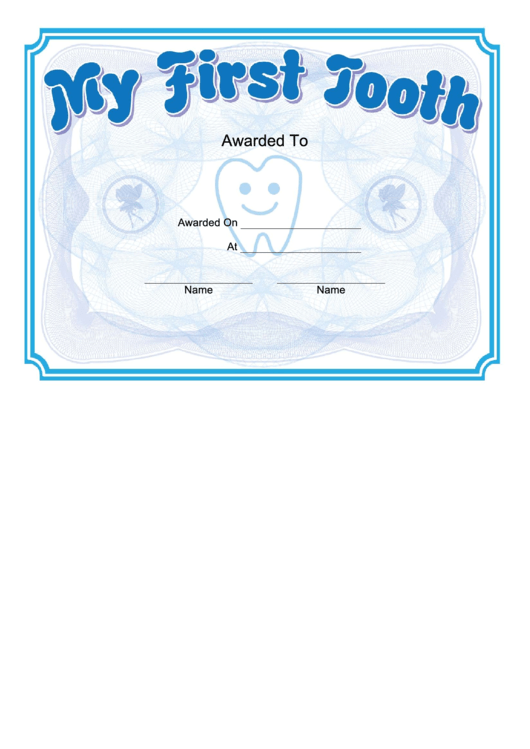 My First Tooth Certificate Template printable pdf download