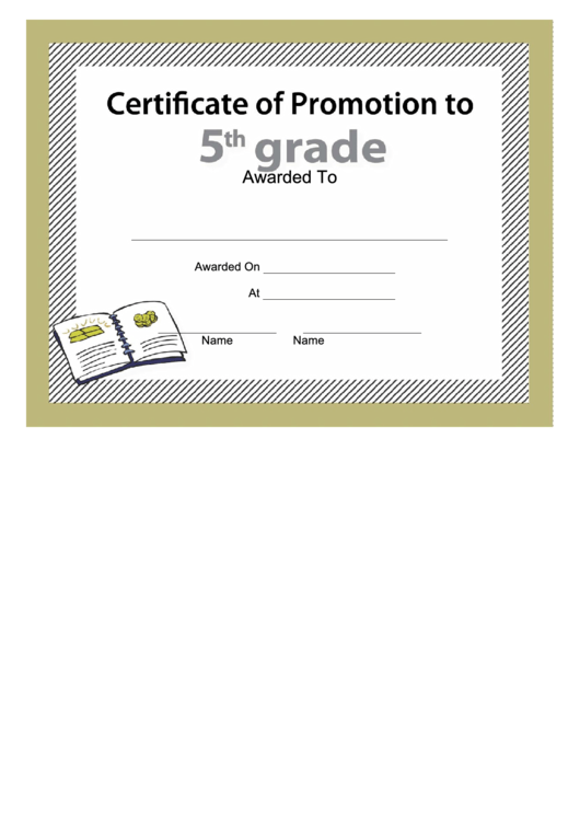 5th Grade Promotion Certificate