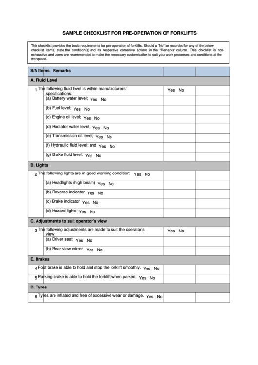 Sample Checklist For Pre Operation Of Forklifts Printable