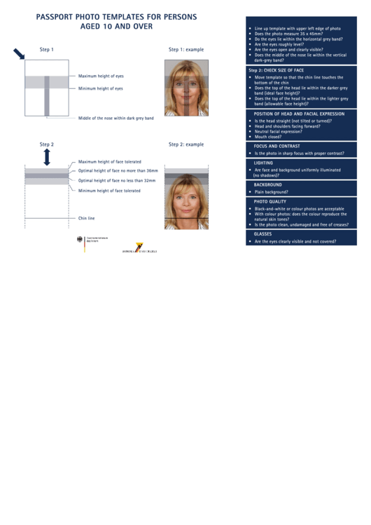 Passport Photo Templates For Persons Aged 10 And Over Printable pdf