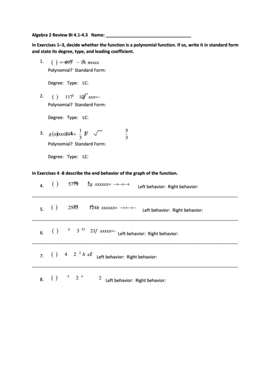 Algebra - Standard For Of Polynomials Worksheet