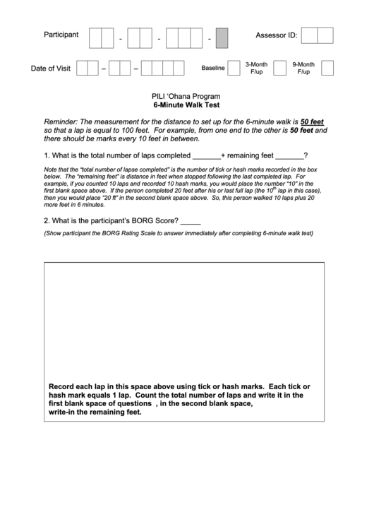 6 Minute Walk Test Printable Pdf Download