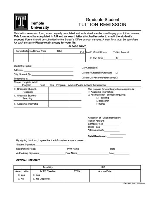 Graduate Student Tuition Remission Form