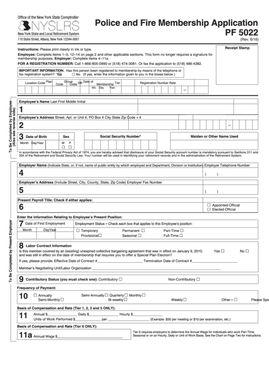 Fillable Form Pf 5022 - Police And Fire Membership Application - New York State Comptroller - 2016 Printable pdf
