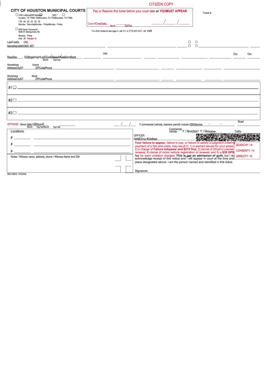 Non-Traffic Ticket - City Of Houston Printable pdf