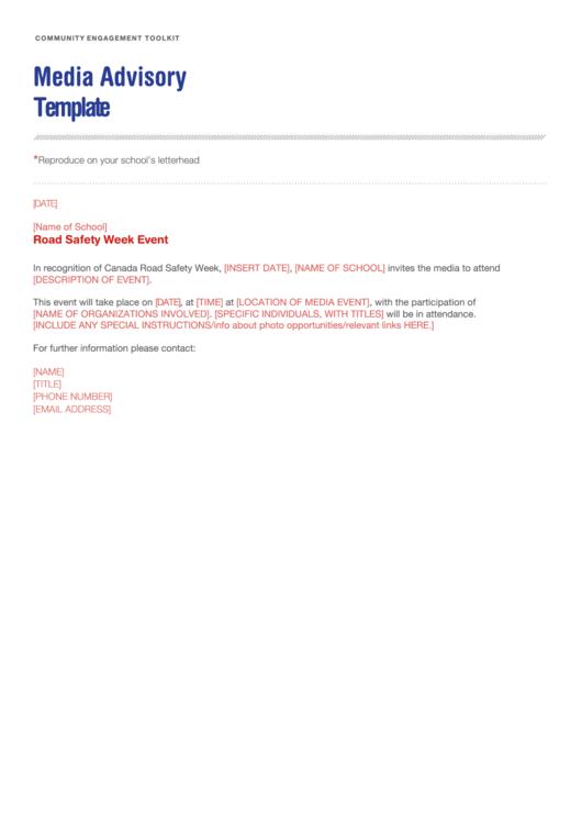 Media Advisory Template Printable pdf