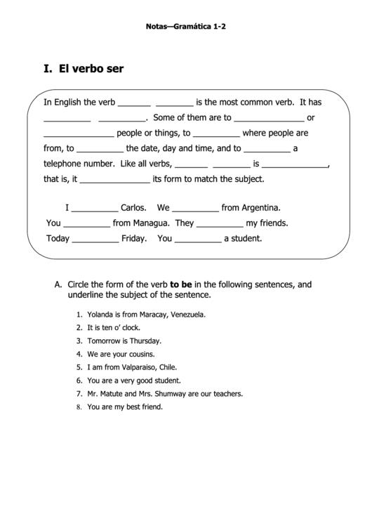 English/spanish Grammar Worksheet Printable pdf
