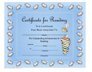 Reading Certificate Template - A Lot Of Books