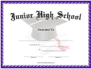 Junior High School Certificate Template