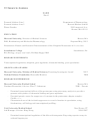 Academic Cv Template - Sample