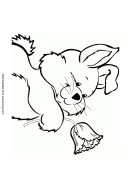 Rabbit And Flower Coloring Sheet