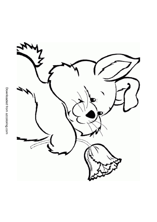 rabbit and flower coloring sheet printable pdf download