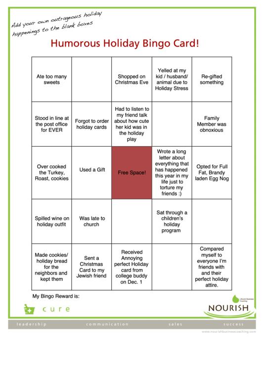 Humorous Holiday Bingo Card Template
