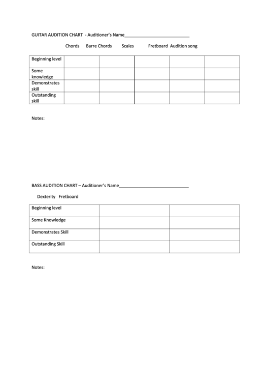 Top 25 audition form templates free to download in pdf format guitar audition chart maxwellsz