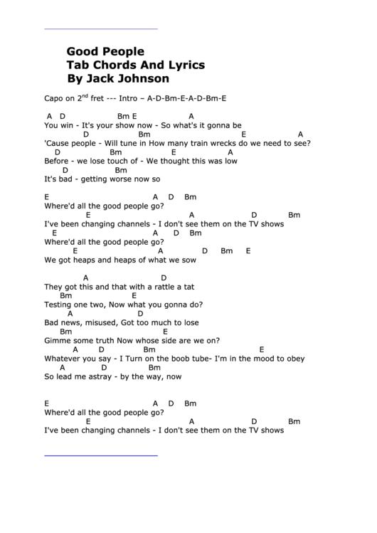 good People\' Tab Chords And Lyrics By Jack Johnson printable pdf ...