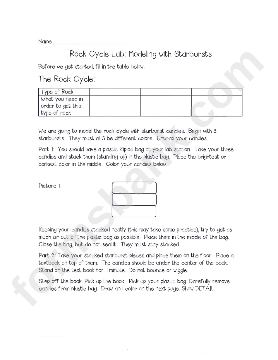 rock cycle lab  modeling with starbursts printable pdf