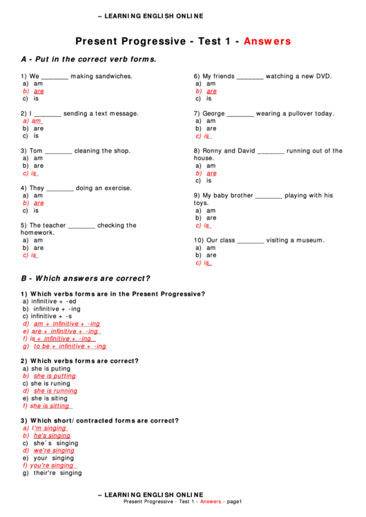 Present Progressive Worksheet With Answer Key printable ...