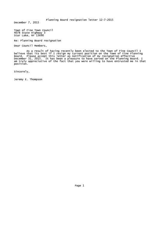 Planning Board Resignation Letter Template Printable pdf