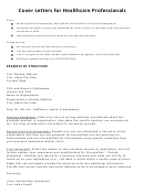 Cover Letters For Healthcare Professionals