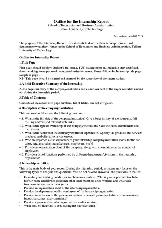 Outline For The Internship Report Printable pdf