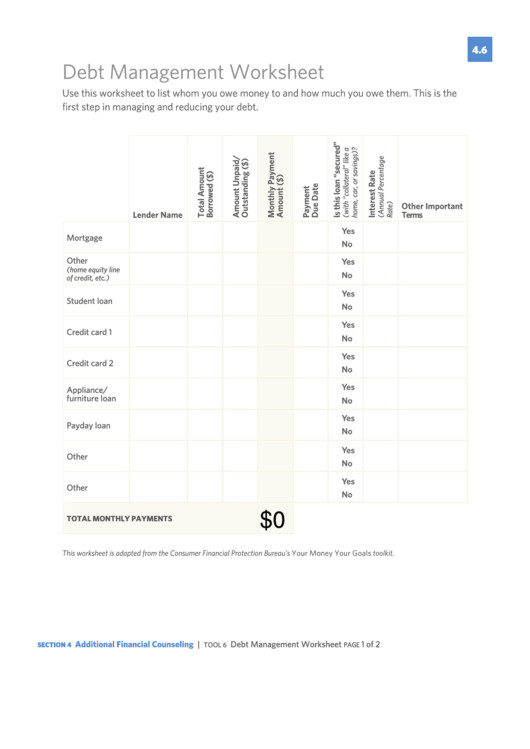 fillable debt management worksheet template printable pdf